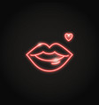 glowing red lips neon icon in line style vector image