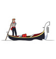 gondolier on white vector image vector image