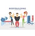 happy bodybuilder with two women in gym vector image vector image