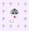 Hat veil girl icon hat girl icons universal set
