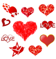 Hearts set on white background vector image vector image