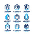 hexagonal real estate logo vector image vector image