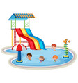 isolated children at water park vector image vector image
