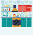 Kitchen with furniture set Cozy kitchen interior vector image vector image