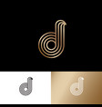 letter d monogram thin lines gold web ui icon vector image