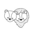 line cute lion head animal couple together vector image vector image