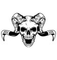 long horned skull with white background vector image vector image