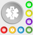 Medicine icon sign Symbol on eight flat buttons vector image vector image
