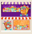 new year christmas holiday gift box shopping cart vector image