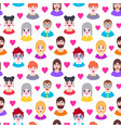 pattern with boys and girls vector image vector image