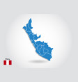 peru map design with 3d style blue peru map and vector image vector image