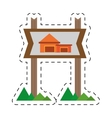 real estate cottage housing sign cut line vector image