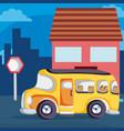 school bus on neighborhood vector image
