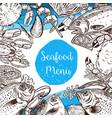 seafood menu template fish crabs shrimp lobster vector image