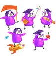 set cute wise owl in different poses vector image