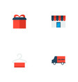 set of store icons flat style symbols with gift vector image vector image