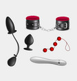 sex toys bondage accessories realistic set vector image vector image