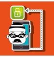 smartphone security information design vector image