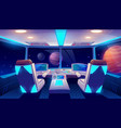 spaceship cockpit interior space and planets view vector image