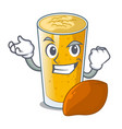 successful lassi mango in a cartoon bottle vector image vector image
