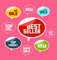 top product best seller new flat labels vector image vector image