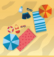 top view beach with swimsuits umbrella sunglasses vector image