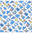 video game seamless pattern with thin line icons vector image vector image