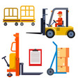 warehouse worker shipping and delivery flat vector image