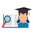 woman student graduated with book and magnifying vector image vector image