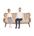 young couple sitting on elegant sofa holding vector image vector image