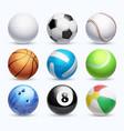 realistic sports balls set vector image