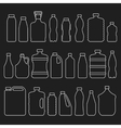 Line glass plastic bottles and other containers vector image