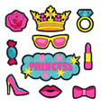 princess fashion embroidery patch set vector image