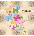 Butterfly background old paper texture and polka vector image