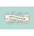 Greeting card with inscription Invitation vector image
