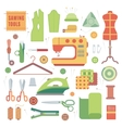 Set of accessories for sewing machines and vector image