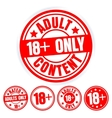Set Of Red Round Stamps Adults Only Grungy Icons vector image