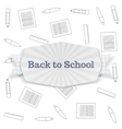 Back to School Text on festive Badge with Ribbon vector image