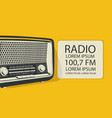 banner for retro music radio with old radio vector image vector image