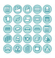 bedding flat line icons orthopedics mattresses vector image vector image