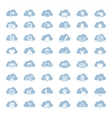 Big set of forty-six blue cloud shapes with white vector image