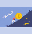 bitcoin upward growth miner lifts vector image vector image