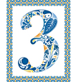 Blue number 3 vector image vector image