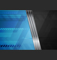 blue technology background with metal stripes vector image vector image