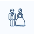 Bride and groom sketch icon vector image vector image