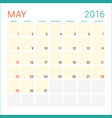Calendar 2016 Flat Design Template May Week Starts vector image