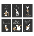Christmas animals cards vector image vector image