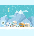 christmas winter landscape with small vector image