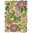 Colored hand drawn pattern with flowers Zentangle vector image vector image
