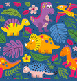 colorful seamless pattern with cute dinosaurs vector image vector image